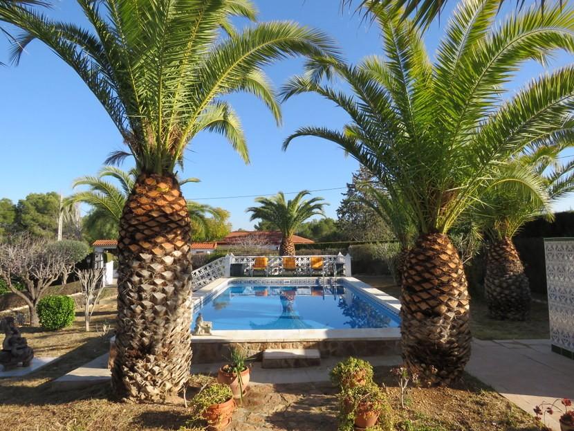 Swimming pool and sunbathing area - 4 bed 1 bath Villa Vilamarchante